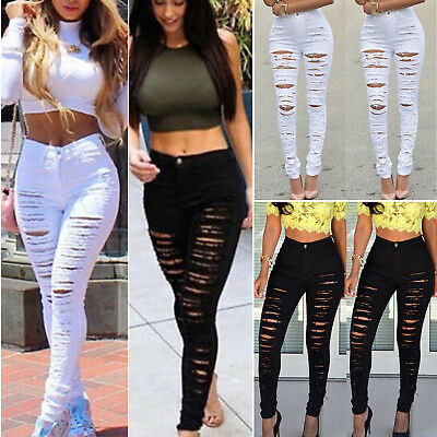 Women's Denim Skinny Ripped Pants Jeans High Waist Stretch Long Pencil Trousers
