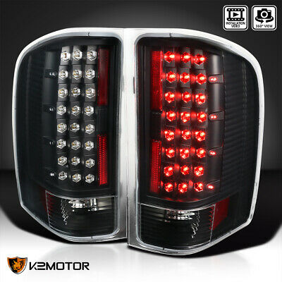 Black 2007-2014 Chevy Silverado 1500 2500 3500 LED Tail Lights Lamps Left+Right