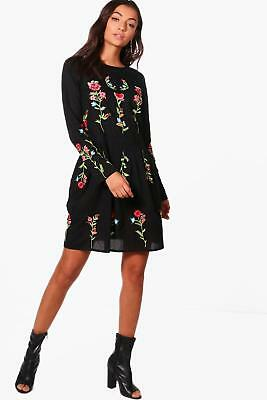 Boohoo Womens Tall Nadia Embroidered Smock Dress