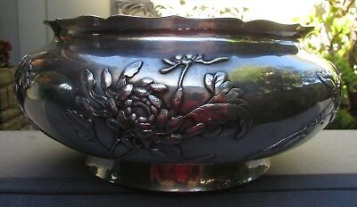 Magnificent Early Chinese Export Silver Bowl Luen Wo Shanghai 1187 Grams