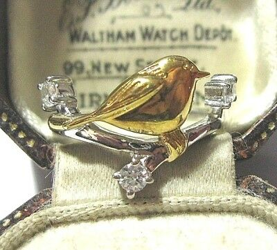 Beautiful Vintage Sterling Silver & Gold Robin Garden Bird Crystal Ring Size Q 8