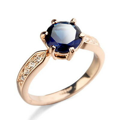 18k Rose Gold Plated Blue Sapphire Vintage Ring Size 5 R52