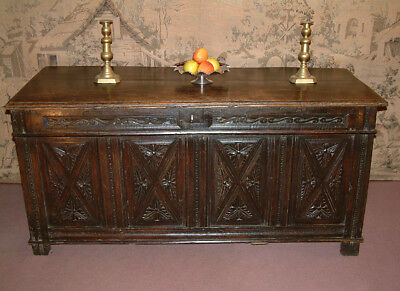 Early 17th Century carved Oak Coffer dating from c 1620