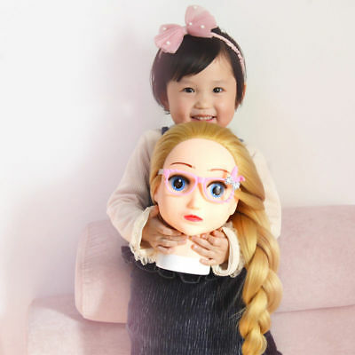 Hairdressing Training Dolls Head Mannequin Head with Clamp Stand Kids Girl Toy