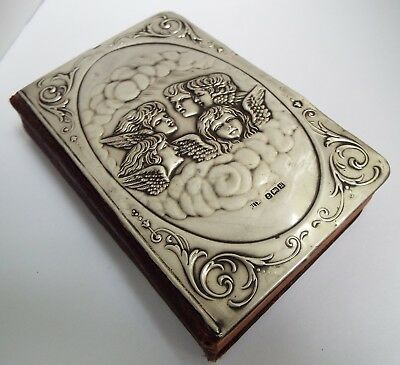 Beautiful Large Size English Antique 1907 Sterling Silver Cherubs Prayer Book