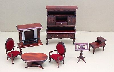 7 Piece Dolls House Living Room Wooden Furniture Set Mahogany Effect 1:12 Scale