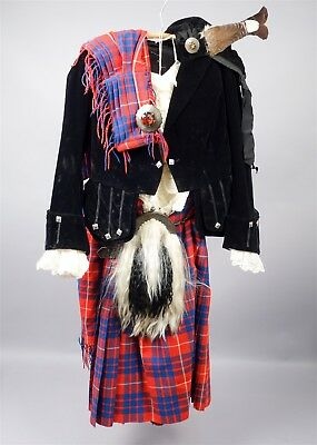 Vintage Early 20c Complete Scottish Bagpiper Outfit w Kilt & Pony Hair Sporran