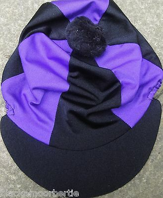 Lycra Riding Hat Silk Skull cap Cover BLACK & PURPLE * With OR without Pompom