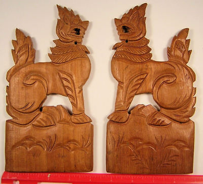 Burma, Myanmar Carved teak chinthe wall plaques.8 1/4 by 4 inches (208 x 105 mm)