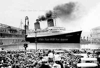 Photo: 5 x 7 Grand View: SS Normandie Enters Cunard Pier, NY, June 3rd, 1935