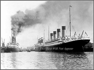 Photo: Super Liners RMS Olympic, SS Leviathon, SS Berengaria At Ocean Dock 1920
