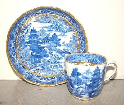 Antique Staffordshire Blue Willow Type Cup & Saucer Spode