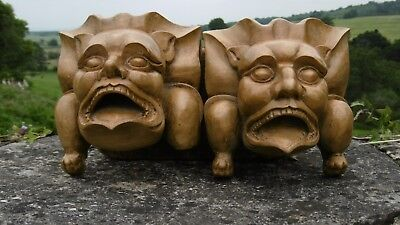 SUPERB Pr 19thc GOTHIC LIME WOOD CARVED GROTESQUE GARGOYLE CHURCH CORBELS