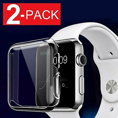2-Pack Soft Ultra Thin Clear Protective Case Cover For Apple Watch Series 2 3