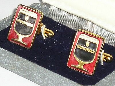 Boxed Pair Of Vintage Guinness Enamelld Advertising Cuff Links Made By Hickok