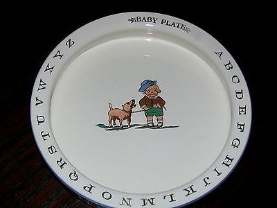 REDUCED! ANTIQUE ABC's BABY PLATE:  Sm.Boy w.Dog, Gold Letters,Lt. Blue Rim,7.5""