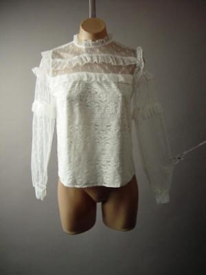White Lace Tiered Ruffle High Neck Vtg-y Victorian Party Top 276 mv Blouse S M L