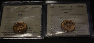 Canada 1937 1939 Small Cent MS 65  ICCS