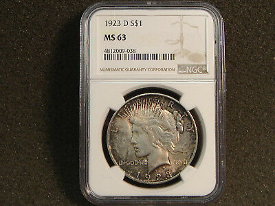 1923-D Peace Silver Dollar NGC MS63 Uncirculated