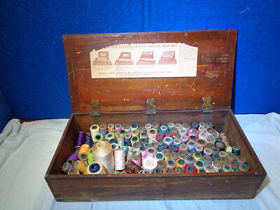 Antique Seed Display Wooden Box filleded with Spools of Vintage Sewing Thread