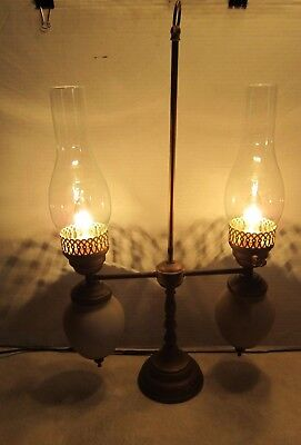 Vintage Antique Brass Dual Student Lamp w Hurricane Shades Works NICE F445