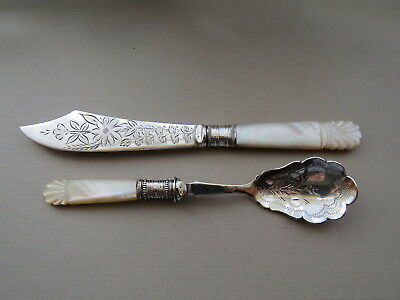Mother of Pearl Handle Jam Spoon & Butter Spreader   Engraved Silver Plate