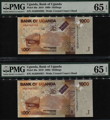 TT PK 49a 2010 UGANDA 1000 SHILLINGS PMG 65 EPQ GEM UNC SEQUENTIAL SET OF TWO!