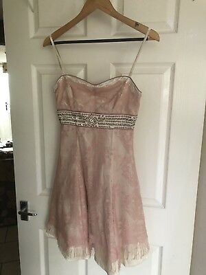 Little Mistress size 10 pink lace and cream satin party / tea dress BNWT RRP 49.