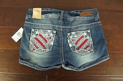 f1d8ac8165 NWT Wallflower Jean Shorts Womens Sz 5 Jeans Bling American Flag Distressed  NEW