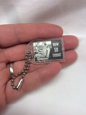 1959 Vintage Dodge Keychain 3-D Moving Swing Out Swivel Seat Promo Auto Show Fob