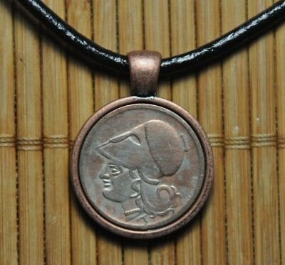 Authentic Greek Helmeted Goddess Athena Drachma Coin Pendant Black Necklace