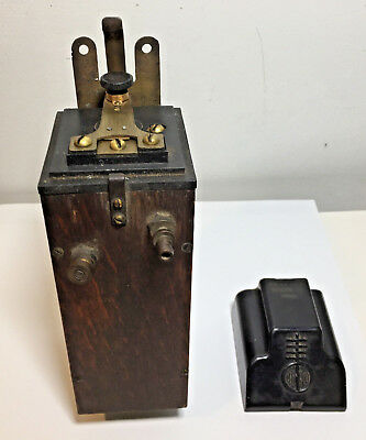 Vtg Early Antique Mesco Wireless Telegraphy Radio Transmitter Spark Coil Oak