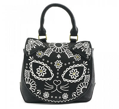 # LOUNGEFLY BLACK CAT Crossbody Bag Purse SUGAR SKULL Kitten Faux Leather FLORAL