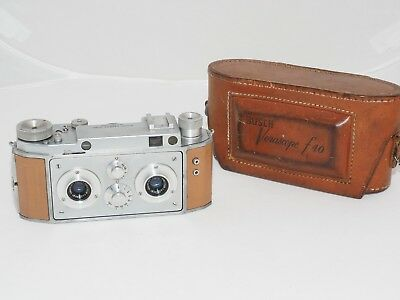 Bush Verascope f40 35mm film stereo 3D camera w/tan leather & case. Paris,France