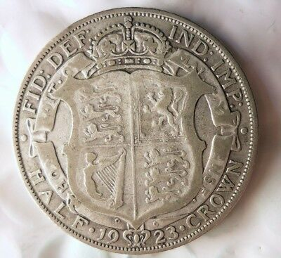 1923 GREAT BRITAIN 1/2 CROWN - HIGH QUALITY Vintage Silver Coin - Lot #612