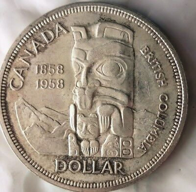 1958 CANADA DOLLAR - TOTEM POLE - Excellent Silver Crown Coin - Lot #612