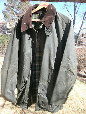 vtg Mens' Barbour Classic Beaufort Olive Waxed Cotton Jacket 46in/117 CM-FreShip