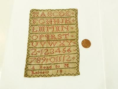 Dated 1800 A Read to M Bainey Miniature Sampler Red Cross Stitch Alphabet #2054H
