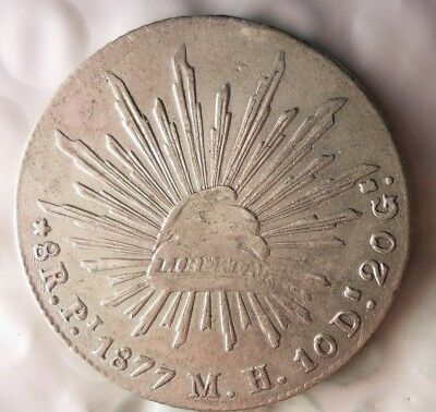 1877 Pi MEXICO 8 REALES - Scarce Type Silver Crown - HUGE VALUE - LOT #612