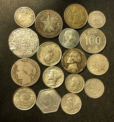 Vintage WORLD Silver Coin Lot - 1825-1967 - 17 Silver Coins - Lot #612