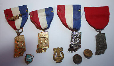 Lot Of 9 Music Medals And Pins Indiana Wurlitzer Trumpet Vintage
