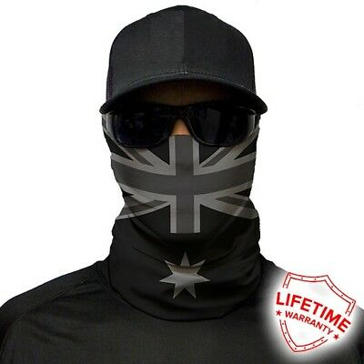 MOTORCYCLE FACE MASK - AUSTRALIAN FLAG GREY SCALE - (Moto, Fishing, Paintball)