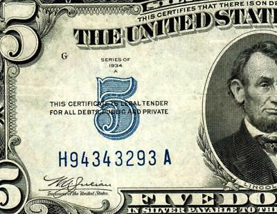 $5 1934A  Silver Certificates **MORE CURRENCY FOR SALE**