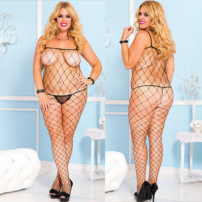 Plus Size Lingerie One Size Queen Black Fence Net Bodystocking  ML1924Q