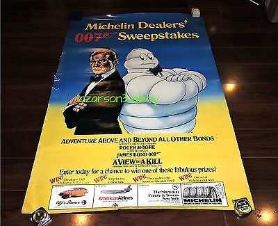 James Bond 007 Michelin Tires Adv Poster A View To A Kill 1985 Ian Fleming