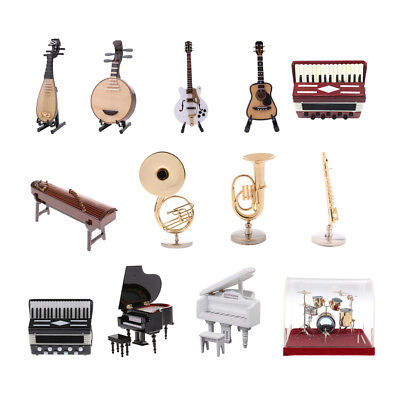 1/12 Miniature Musical Instrument Guitar Piano Drum Dolls House Artist Offerings