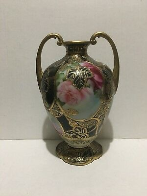 Antique Nippon Cobalt Blue Gold Moriage Hand Painted Rose Flower Amphora Vase