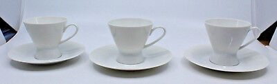 Rosenthal Continental Classic Modern White Coffee Tea Cups Saucer Set of 3 (C)