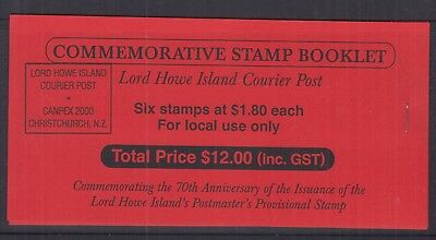 Lord Howe Island 2000 $1.80- ovpt 70 YRS P.M. Prov. (CANPEX) Local-booklet