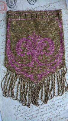 EXQUISITE ANTIQUE FRENCH 1920s METAL MICRO BEADED PURSE BAG ROSE & GOLD